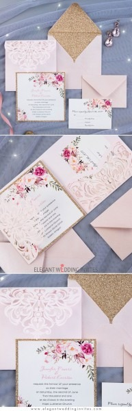 Romantic Blush Pink Spring Flower Glittery Laser Cut Pocket