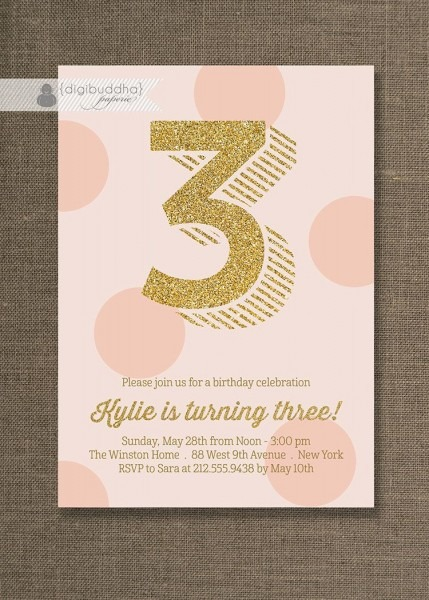 Pink And Gold Birthday Invitation Gold By Digibuddhapaperie