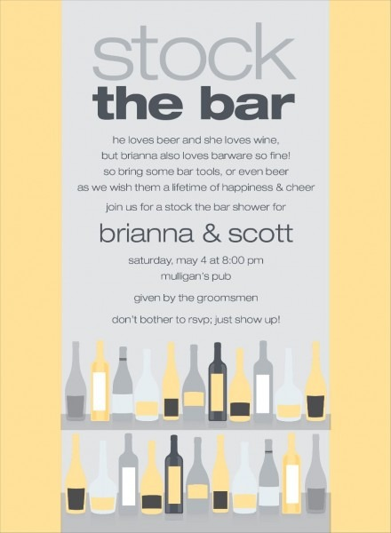 Bar Shelf Yellow And Grey Stock The Bar Invitation By Noteworthy