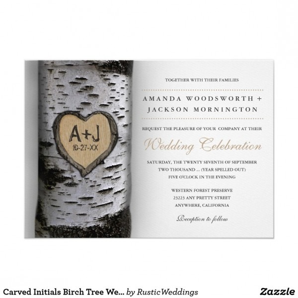Carved Initials Birch Tree Wedding Invitations In 2018