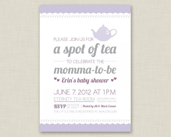 Baby Shower High Tea Invitation Wording • Baby Showers Design