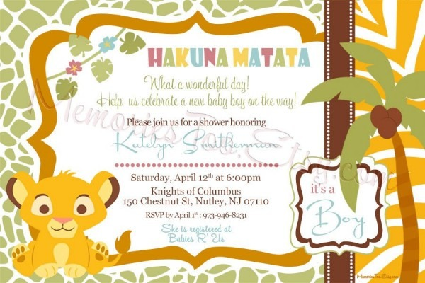 Baby Shower Invitations Lion King The Lion King Ba Shower