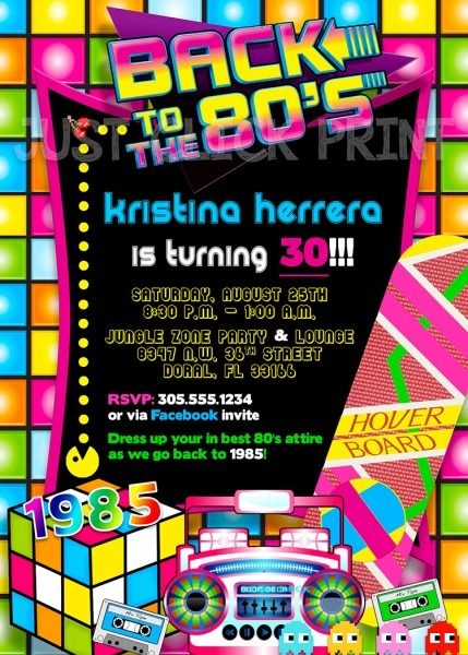 Back To The 80's Birthday Party Invitation Printable · Just Click