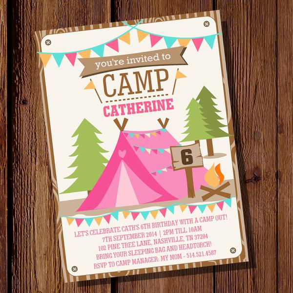 Camping Birthday Party Invitation Fancy Camping Birthday Party