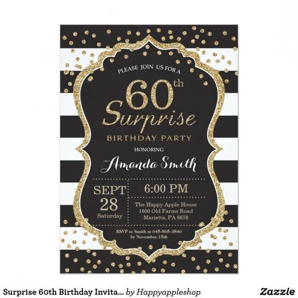 Surprise 60th Birthday Invitation  Gold Glitter Card Surprise 60th