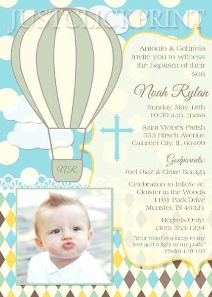 Hot Air Balloons Christening Baptism Dedication Invitation