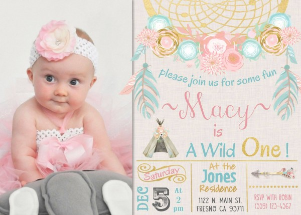 Elegant Baptism And Birthday Party Invitations