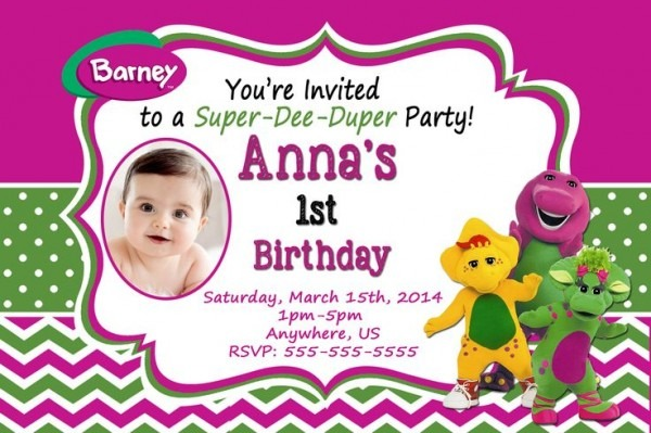 Barney Personalized Photo Birthday Simple Free Personalized Barney