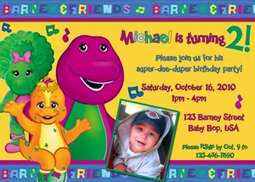 Barney Party Invitation Poster Template Abadeaacedcebaf Screen