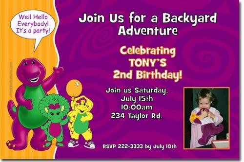 Barney Great Barney Invitation Template