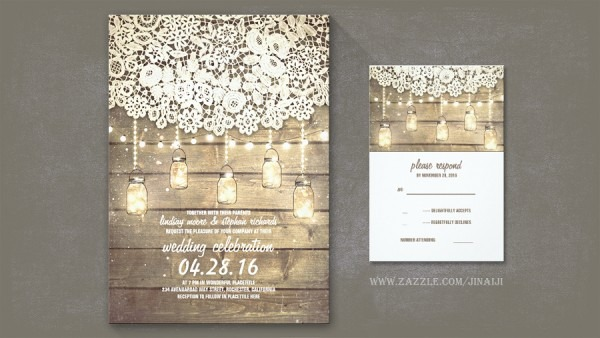 Barnwood And Lace Wedding Invitations