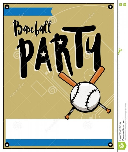 Baseball Party Invitation Template Illustration Stock Vector