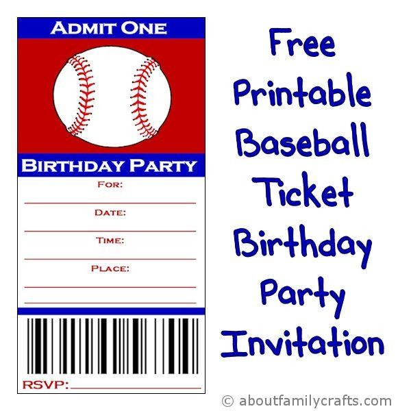 Baseball Ticket Birthday Party Invitation Fancy Free Printable