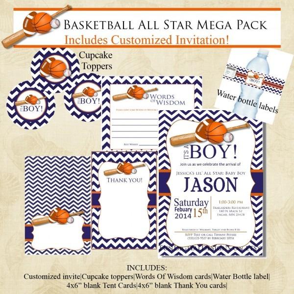 Basketball Chevron Sports Baby Shower Invitation Mega Pack, Navy