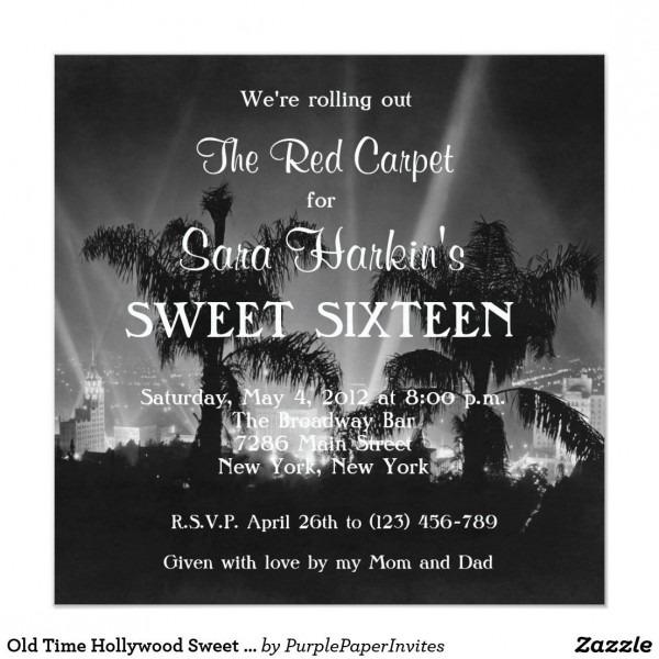 Old Time Hollywood Sweet 16 Birthday Invitation