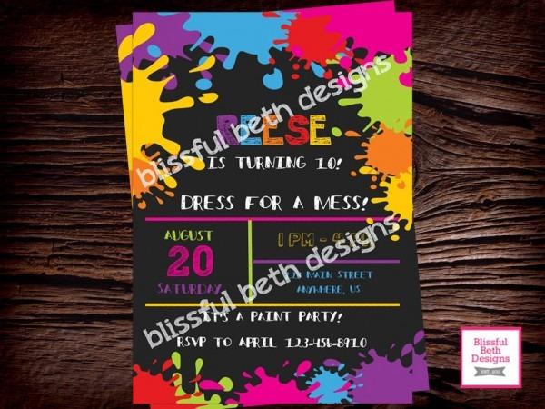 Art Birthday Party Invitation   Art Party Invitation   Messy