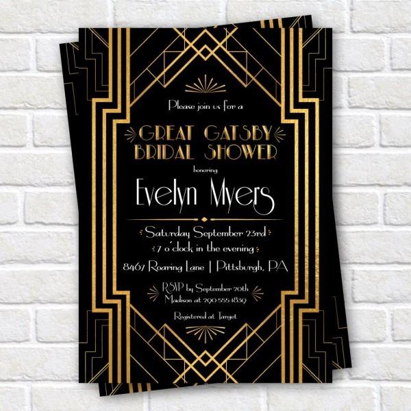 Great Gatsby Bridal Shower Invitation, Roaring 1920s Bridal Shower