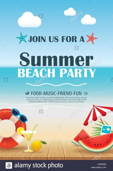Beach Party Invitation Poster With Vacation Element Wooden And