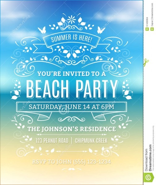 Beach Party Invitation Stock Vector  Illustration Of Poster
