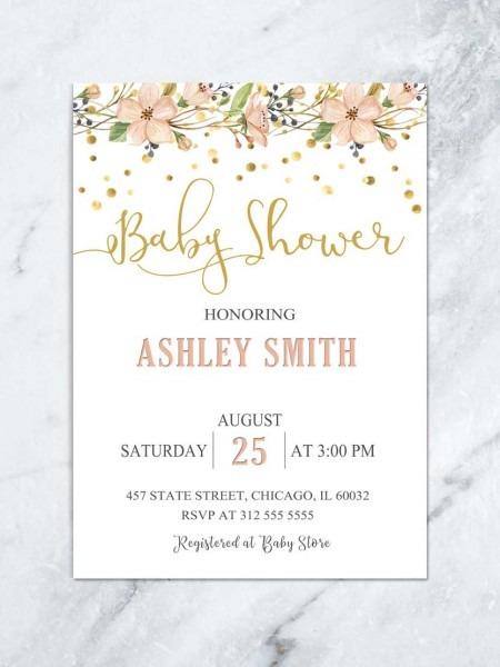 Beautiful Baby Shower Invitations Girl 79 On Invitations Wedding
