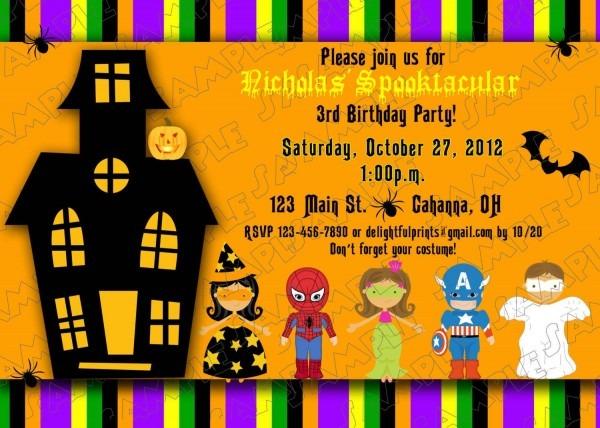 Beautiful Free Printable Halloween Birthday Party Invitations 27