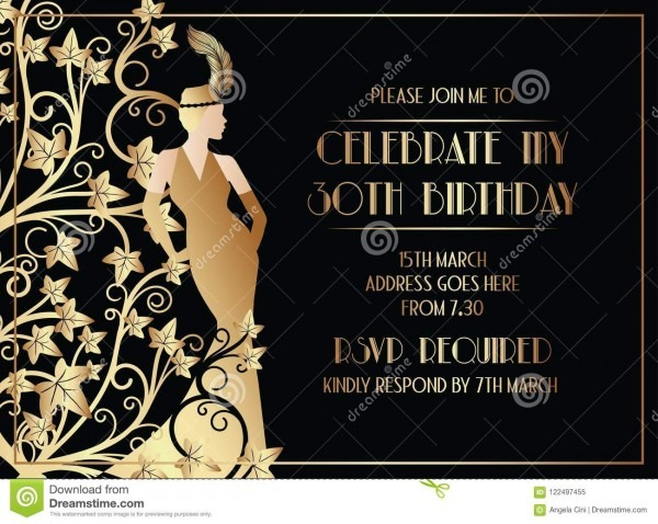 Beautiful Gatsby Art Deco Style Birthday Invitation Design Stock