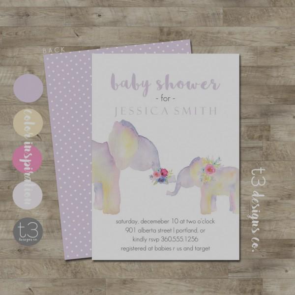 Beautiful Of Elephant Girl Baby Shower Invitations Elephant Baby