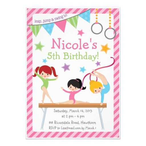 Best Kids Party Ideas Images On Best Party Invitation Collection Gymnastic Birthday