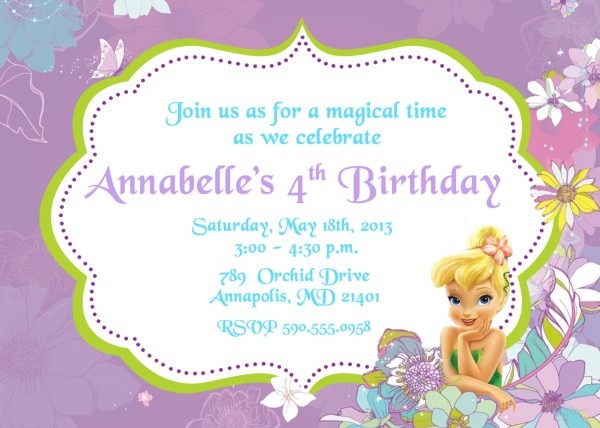 Best Tinkerbell Birthday Invitations 60 About Remodel Invitations