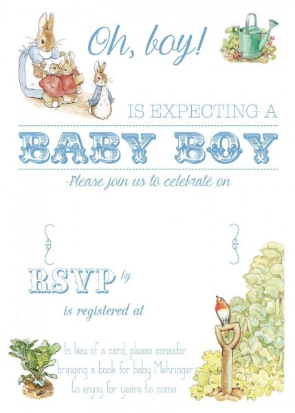Free Free Printable Peter Rabbit Baby Shower Invitation