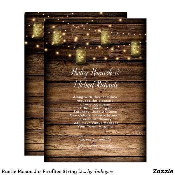 Rustic Mason Jar Fireflies String Lights Card