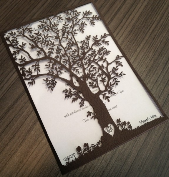 Brown Tree Laser Cutting Wedding Invitations