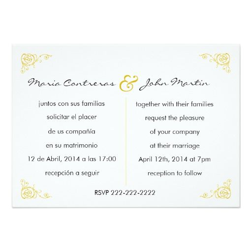 Spanish Wording For Wedding Invitations Invitation