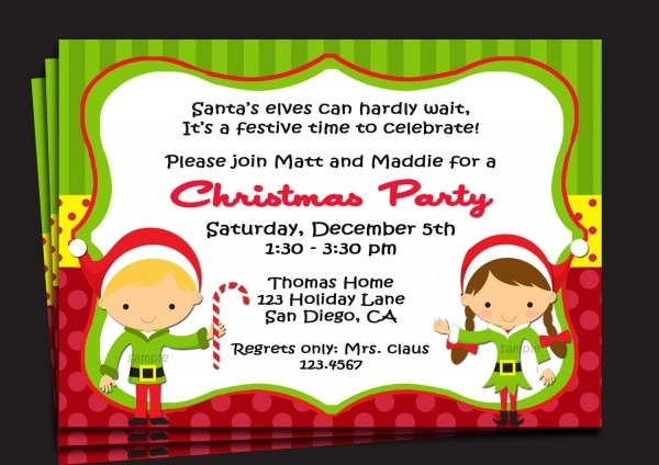 Birthday And Party Invitation Kids Christmas Party Invitations