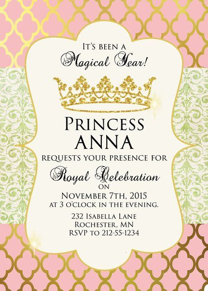 Birthday Invita Unique Birthday Invitation Princess Theme