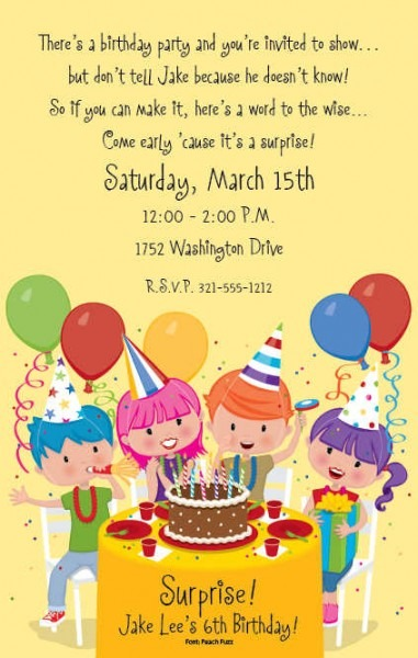 Birthday Invitation Wording Ide Simple Kids Party Invitation