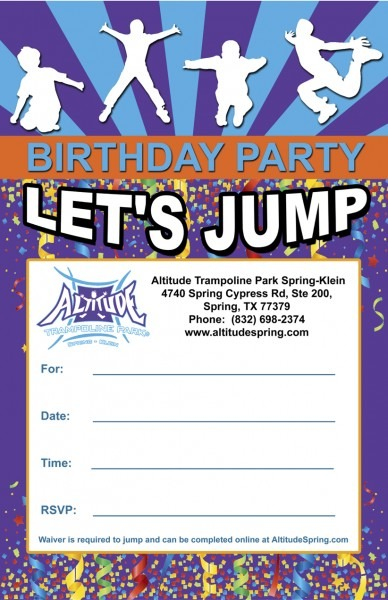 Kids Birthday Party Invitation Sample Great Trampoline Park