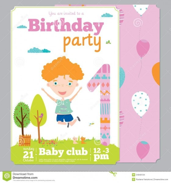 Birthday Party Invitation Card Template With Cute Stock Vector