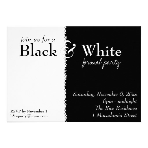 Black And White Party Fabulous White Party Invitations Templates