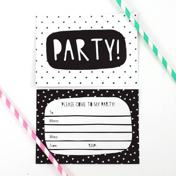 Black And White Party Invitations Good Black & White Birthday
