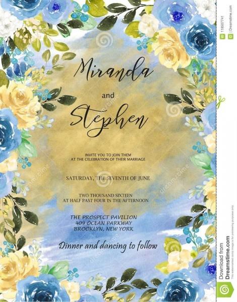 Black And Blue Watercolor Wedding Invitation Template Stock