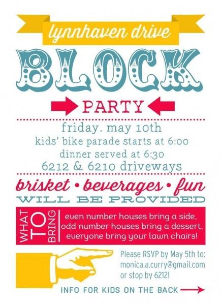Free Block Party Invitation Template Neighborhood Block Party
