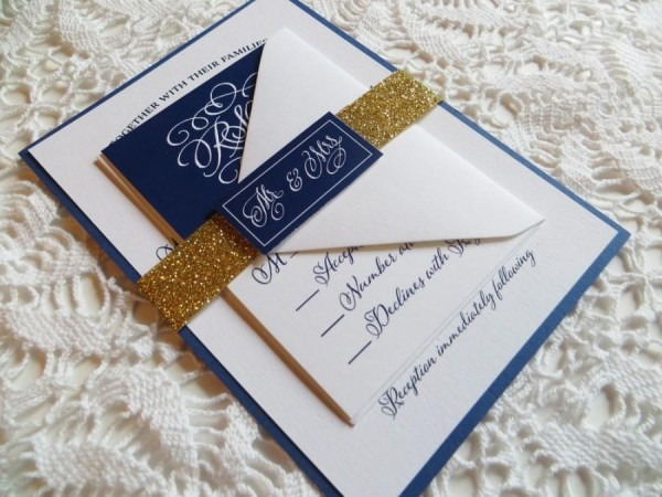 Blue And Gold Wedding Invitations Blue And Gold Wedding