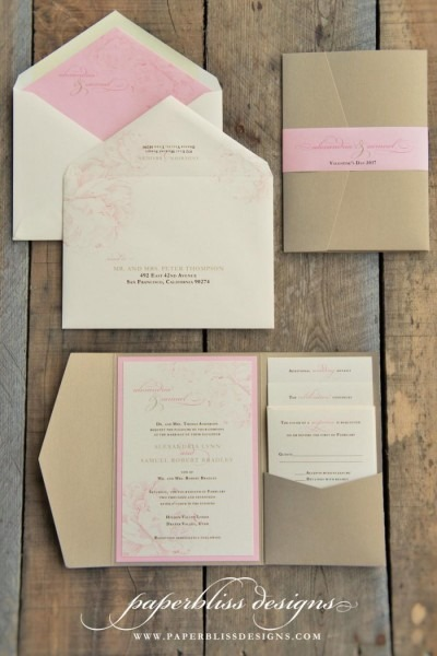 Blush Pink Peony Wedding Invitation Suite