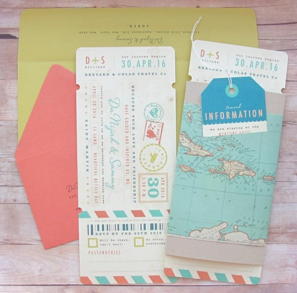 Boarding Pass Ticket Wrap Enclosure Invitation With Luggage Tag