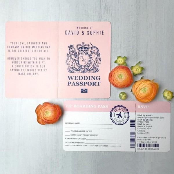 Boarding Pass Wedding Invitation, Passport Wedding Invitations