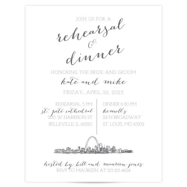 Bombshell Skyline Wedding Rehearsal Invitations