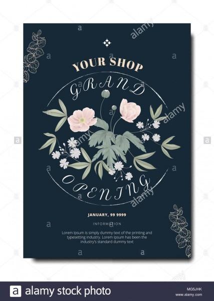 Botanical Grand Opening Invitation Card Template Design, Pink