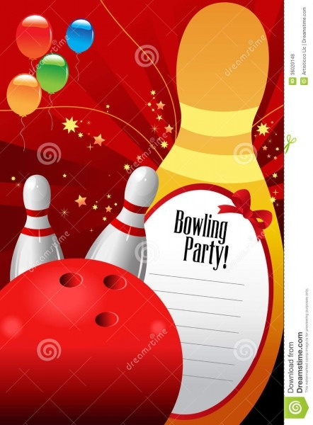 Bowling Party Invitation Template Stock Vector