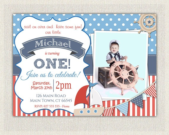 Nautical Fi Popular Nautical 1st Birthday Invitations